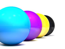 Balls colored cmyk. Stock Images