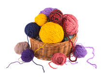 Balls colored threads, wool knitting. Stock Image
