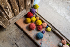 Balls of colored wool Royalty Free Stock Photography