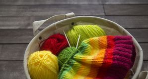 Balls of colored yarn.The process of knitting caps. The view from the top. All colors of the rainbow. Sample Jersey. Crochet Stock Photo
