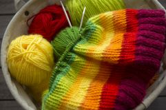 Balls of colored yarn.The process of knitting caps. The view from the top. All colors of the rainbow. Sample Jersey. Crochet Stock Image