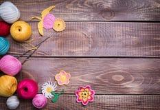 Balls of colored yarn Stock Photos