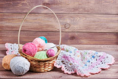 Balls of colored yarn. On wooden boards Stock Photos