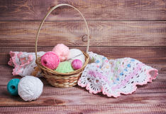 Balls of colored yarn. On wooden boards Stock Image