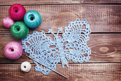 Balls of colored yarn Stock Photo