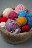 Balls of Colour Yarn in Bowl Royalty Free Stock Photography