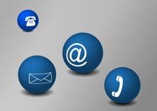 Balls with communication symbols. On grey Stock Photos