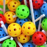 Balls construction toy. Colourful balls with holes and sticks for construction Stock Photo
