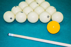 Balls and cue for Billiards Royalty Free Stock Photography