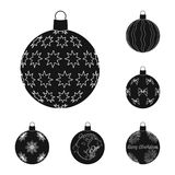 Balls for decoration black icons in set collection for design.Christmas balls vector symbol stock web illustration. Balls for decoration black icons in set Royalty Free Stock Images