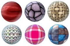 Balls of different materials Royalty Free Stock Photography