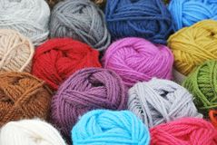 Balls of dyed alpaca wool Royalty Free Stock Photography