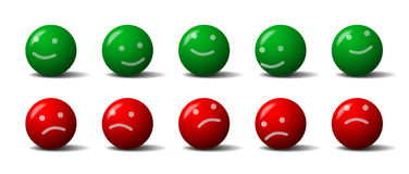 Balls emoticons. Green and red balls with a smile and frown Royalty Free Stock Images