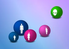 Balls with family silhouettes. Balls with four family silhouettes Stock Photo