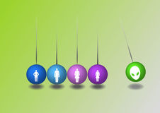 Balls with family silhouettes. Balls with four family silhouettes Stock Photos