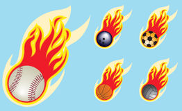 Balls On Fire. A set of  baseball, bowling ball, soccer ball, basket ball, and volley ball in flames Royalty Free Stock Images