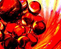 Balls of Fire II Abstract. Clear glass marbles reflecting background colors Stock Image