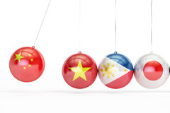 Balls with flags of China, Vietnam, Philippines, Japan conflict concept, 3D renderin. Balls with flags of China, Vietnam, Philippines, Japan conflict concept, 3D Stock Image