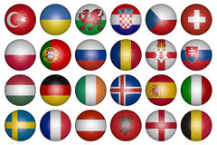 Balls with flags of the countries of Europe Royalty Free Stock Images