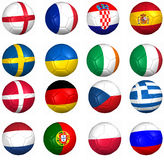 Balls flags, Euro 2012  groups Royalty Free Stock Photos