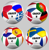 Balls flags, Euro 2012  groups Royalty Free Stock Images