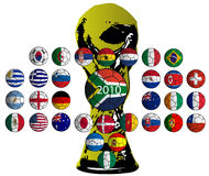 Balls flags, World Cup 2010 teams. On white background Royalty Free Stock Image