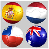 Balls with flags World Cup 2014 Group B soccer. On white background Royalty Free Illustration