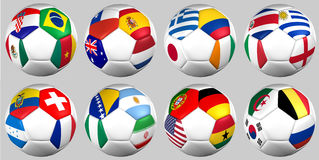 Balls with flags of the world 2014 groups Stock Image