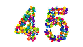Balls forming number 45 over white background. Number 45 over white background in red, purple, blue, yellow, green and orange balls over white background Royalty Free Stock Image
