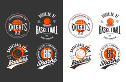 Balls for game of basketball in dark and light. Style. Prints for sportswear and exclusive t-shirt, sport equipment or gear, streetball logotype and basket logo Stock Photos