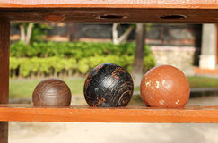 Balls for the game of bocce in the beach Royalty Free Stock Photos