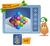 Balls game educational. Educational game for kids, puzzle. development of spatial thinking in children suitable both for kids and adults. Task game How many vector illustration