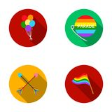 Balls, gay parade, arrows, flag. Gayset collection icons in flat style vector symbol stock illustration web. Royalty Free Stock Images