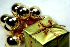Balls and Gift. Decoration stock photo