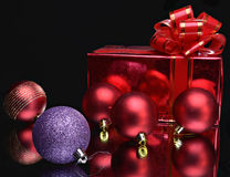 Balls and gift box Royalty Free Stock Photo