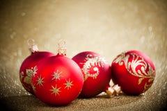 Balls with golden background. Christmas balls with golden background Stock Photos