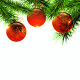 Balls and green branch on a white background. Vector Royalty Free Stock Images