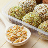 Balls from ground wheat sprouts Royalty Free Stock Photography
