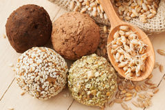 Balls from ground wheat sprouts Stock Photography