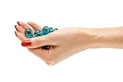 Balls in hand royalty free stock photos