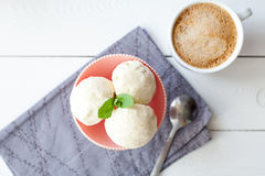 Balls of ice cream in bowl Stock Image
