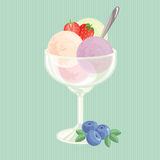 Balls of ice cream with strawberry. And strawberry slice in glass cup Stock Images