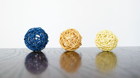 Balls interior decorations. Colorful wicker balls interior decorations royalty free stock images