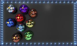 Balls and lighted Christmas stars frame, 3d rendering Royalty Free Stock Photo