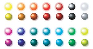 Balls luminous and shaded. Set of the luminous and blacked out balls on a white background Royalty Free Stock Photos
