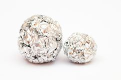 Balls made of tine foil Royalty Free Stock Images