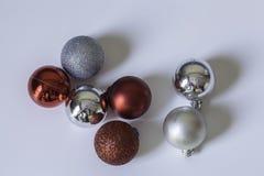Balls. Marbles, white, red, silver, christmas tree, december, desktop Stock Image