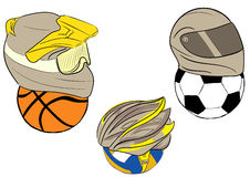 Balls in motorcycle helmets Royalty Free Stock Images