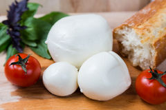 Balls mozzarella different size with tomatoes cherry, bread and Royalty Free Stock Image