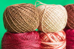 Balls of a multi-colored yarn Royalty Free Stock Photos